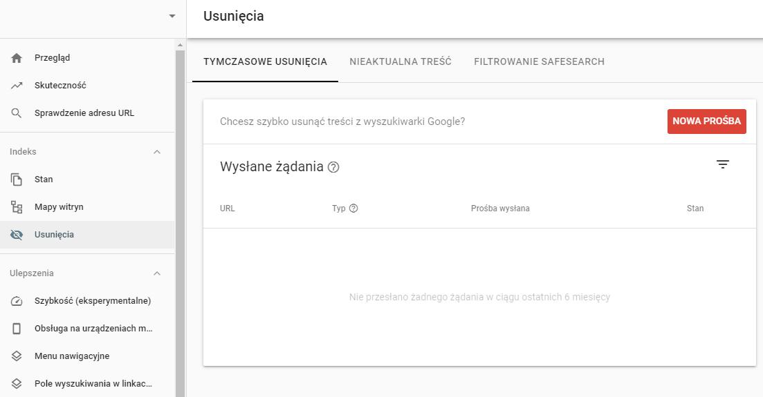 usunięcia - panel google search console