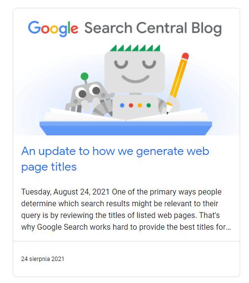 aktualizacje Google i meta title