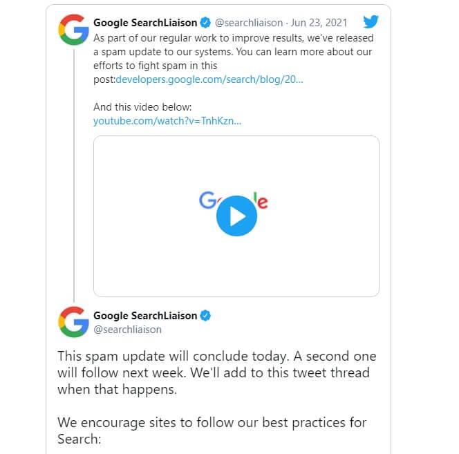 spam aktualizacja Google