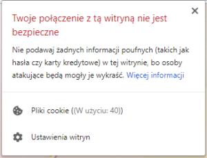 Komunikat o niebezpiecznym połączeniu wyświetlany przez Chrome
