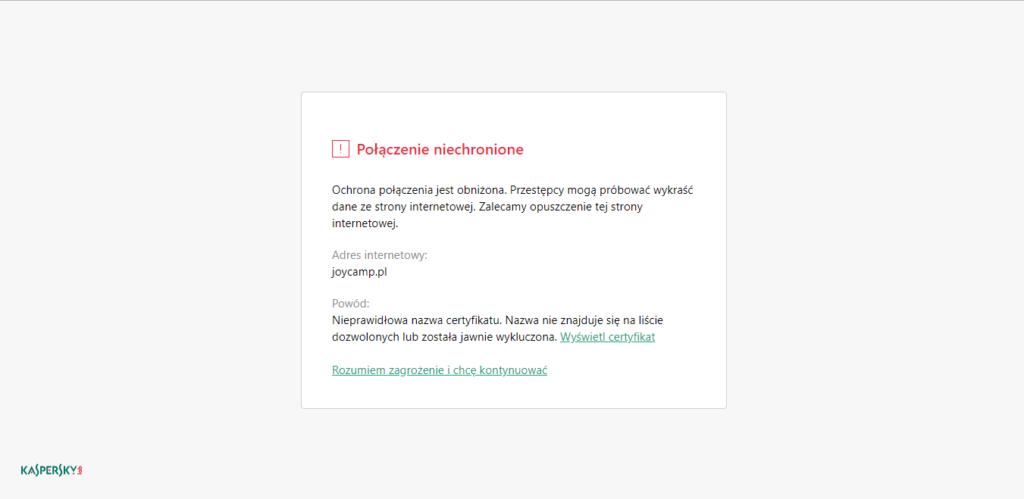 Komunikat wyświetlany przed wejściem na stronę nie opartą na protokole HTTPS