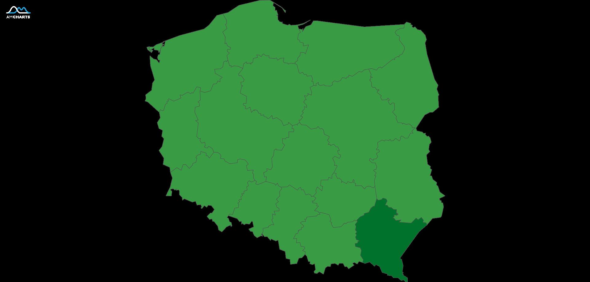mapa wojewodztwo podkarpackie