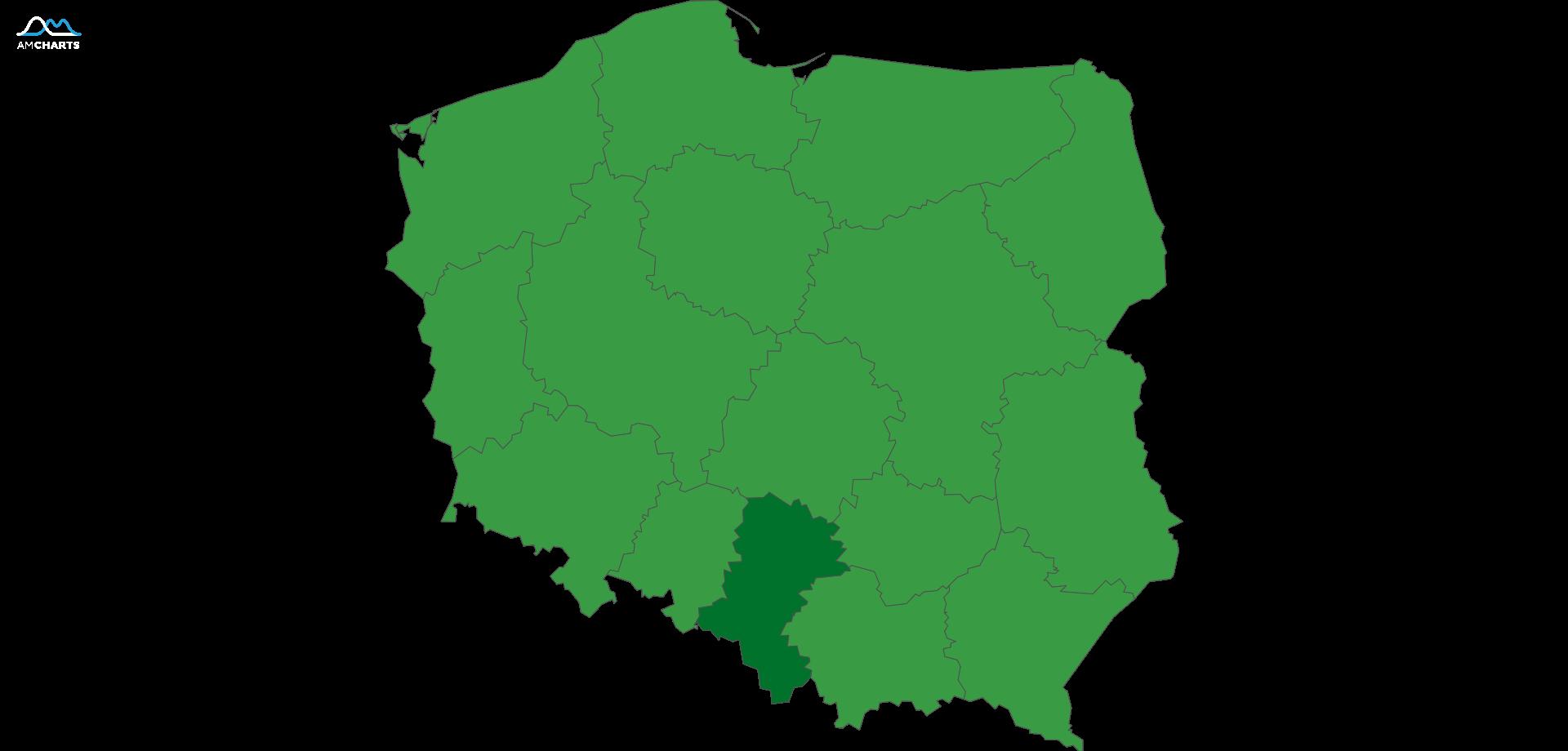 mapa wojewodztwo śląskie