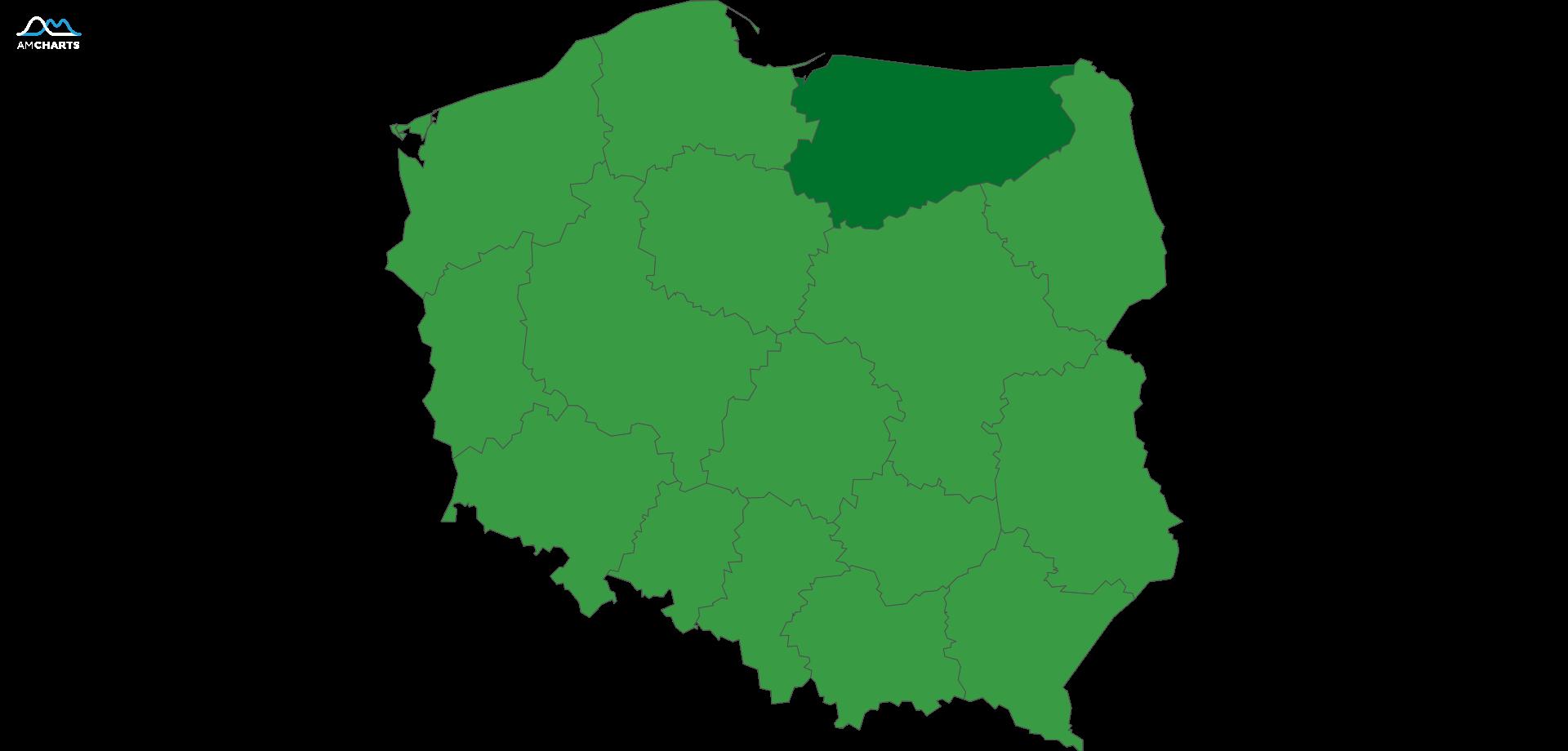 mapa wojewodztwo warminsko-mazurskie